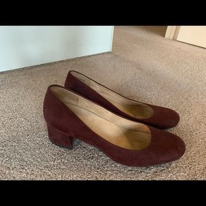 Block Heel Pumps, Wine colored suede, size 11.